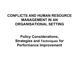 conflicts and human resource management in an organisational