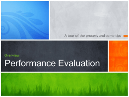 Overview Performance Evaluation