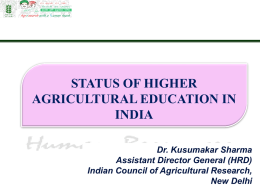 Status of Higher Agricultural Education in India