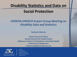 Disability Statistics and Social Protection.