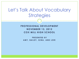 Let`s Talk About Vocabulary Strategies presentation