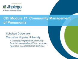 Module 4: Community Management of Pneumonia
