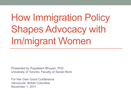 How Immigration Policy Shapes Advocacy with Im/Migrant Women