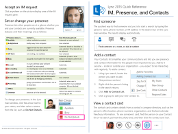 IM, Presence, and Contacts Reference Card