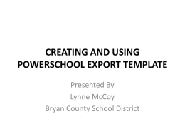 creating and using powerschool export template