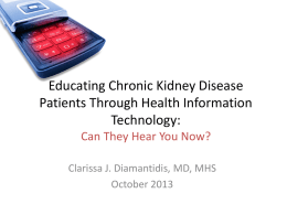 Educating Chronic Kidney Disease Patients Through Health