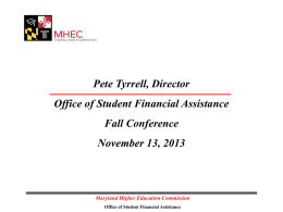 Office of Student Financial Assistance Presentation - DE-DC-MD