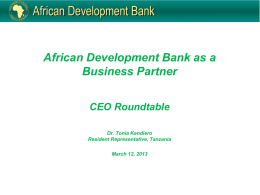 a presentation by the AfDB Country Representative