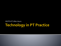 Technology in PT Practice