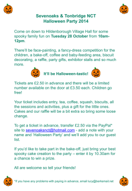 Ticket details for the Hallowe`en Party