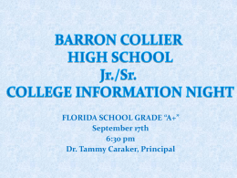 College Night PowerPoint - Barron Collier High School