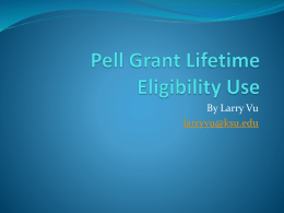Pell Grant Lifetime Eligibility Use