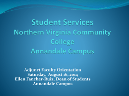 Adjunct Orientation Student Services Fall 2014