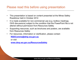 MS - Toolbox Presentation - 2014 - Appropriate risk management