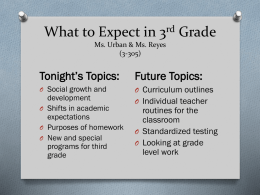 What to Expect in 3rd Grade Ms. Urban & Ms. Reyes (3-305)