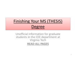 Finishing your MS degree