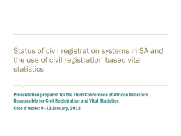Status of civil registration systems in SA and the use of civil
