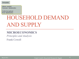 Household Demand and Supply