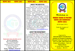 Workshop on - Institute of Chemical Technology