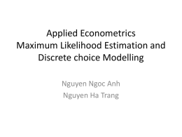 Applied Econometrics Maximum Likelihood Estimation