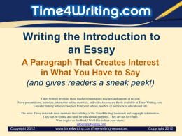 Writing the Introduction to an Essay
