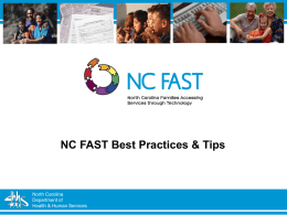 NC FAST Best Practices and Tips