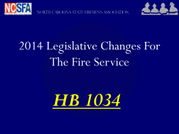 2014 Relief Fund Changes - North Carolina State Firemen`s