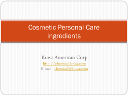 Cosmetic Personal Care Ingreidients