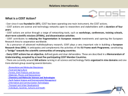 What is a COST Action? - Institut de Chimie de Clermont