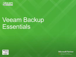 Veeam Backup Essentials - NG Technologies NG Technologies
