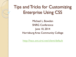 Tips and Tricks for Customizing Enterprise Using