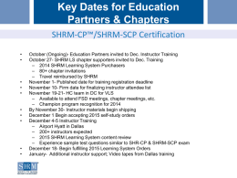 Key Dates for Education Partners & Chapters