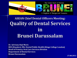 ASEAN Chief Dental Officers Meetings Quality of Dental Services in