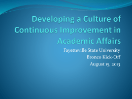 Developing A Culture of Continuous Improvement