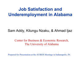 Job Satisfaction and Underemployment in Alabama
