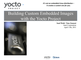 Building Custom Embedded Images with the Yocto Project