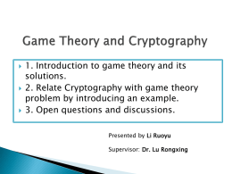 Game Theory and Cryptography