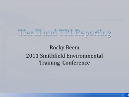 Tier II and TRI Reporting (R.Beem)