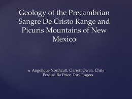 Geology of the Precambrian Sangre De Cristo Range of New Mexico