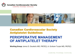 CCS Guideline on Antiplatelet Therapy for patients requiring