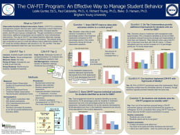 The CW-FIT Game: An Effective Way to Manage Student Behavior