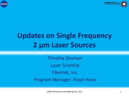 Updates on Single Frequency 2 µm Laser Sources