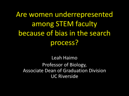 Are Women Underrepresented Among STEM Faculty Because of