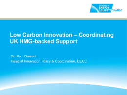 Paul Durrant DECC - RCUK Energy Innovation