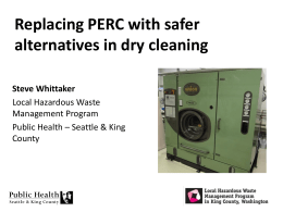 Towards a Policy to Eliminate Perchloroethylene in Dry Cleaning