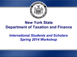New York State Income Tax Workshop Powerpoint