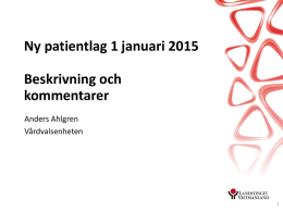 Nya patientlagen 1 jan 2015