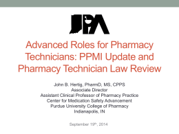 Advanced Roles for Pharmacy Technicians