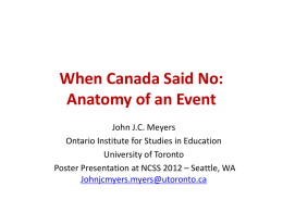 When Canada Said No: Anatomy of an Event - K