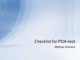 Checklist for PDA